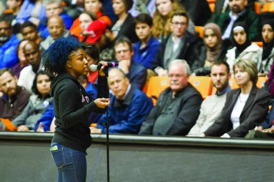 A student participates in a Speak Out about race relations at Oregon State University in November 2015. Photo by Aaron Newton/The Daily Barometer